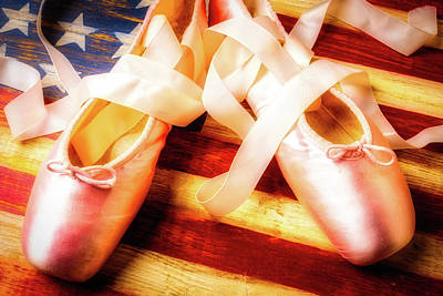Folk Art Photograph - Ballet Shoes On Flag by Garry Gay