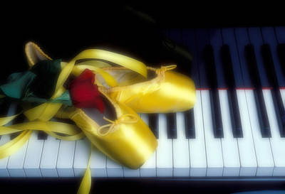 Dance Ballet Roses Photograph - Ballet Shoes On Piano Keys by Garry Gay