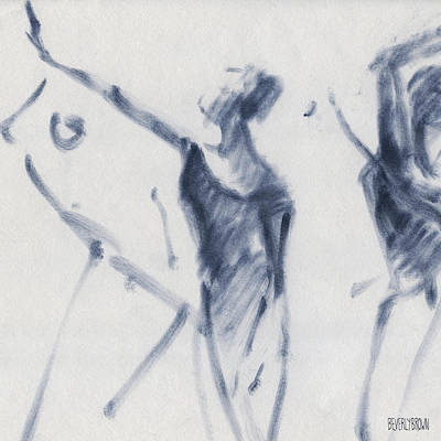 Blue Abstract Drawing - Ballet Sketch Arm Reaching Out by Beverly Brown Prints