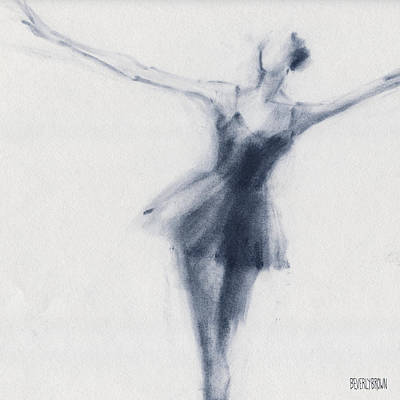 Blue Abstracts Drawing - Ballet Sketch Dying Swan by Beverly Brown Prints