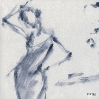 Monochrome Painting - Ballet Sketch Hand On Head by Beverly Brown