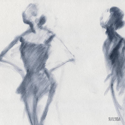 Blue Abstract Drawing - Ballet Sketch Hands On Hips by Beverly Brown Prints