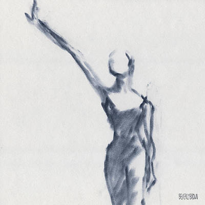 Blue Abstracts Drawing - Ballet Sketch One Arm Extended by Beverly Brown Prints