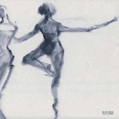 Blue Abstract Drawing - Ballet Sketch Passe En Pointe by Beverly Brown Prints