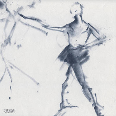 Blue Abstract Drawing - Ballet Sketch Tendu Front by Beverly Brown Prints