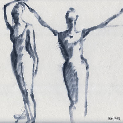 Blue Abstracts Drawing - Ballet Sketch Two Dancers Arms Overhead by Beverly Brown Prints