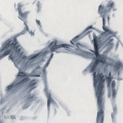 Blue Abstracts Drawing - Ballet Sketch Two Dancers Gaze by Beverly Brown Prints