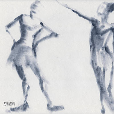 Blue Abstract Drawing - Ballet Sketch Two Dancers Shift by Beverly Brown Prints
