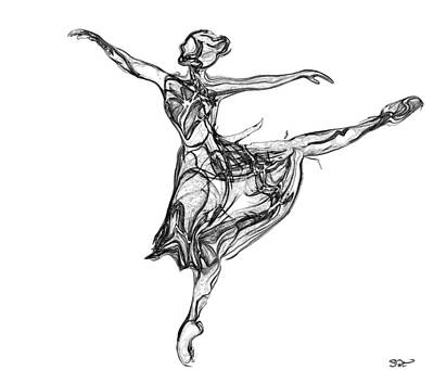 Abstract Digital Drawing - Balletic Meaning In Beauty by Abstract Angel Artist Stephen K
