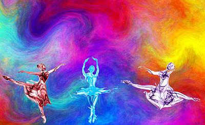 Ballerinas Digital Art - Balletic Sunset by Abstract Angel Artist Stephen K