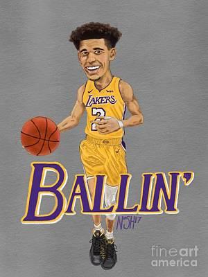 La Lakers Drawing - Ballin' by Jeremy Nash