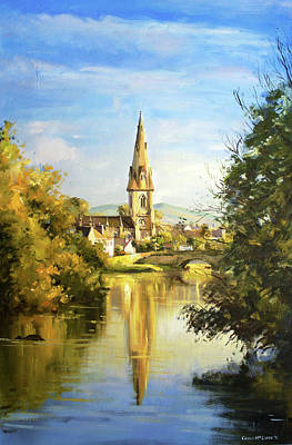 Salmon Painting - Ballina Cathedral Spire by Conor McGuire