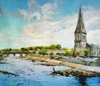 Salmon Fishing Painting - Ballina On The Moy 11 by Conor McGuire