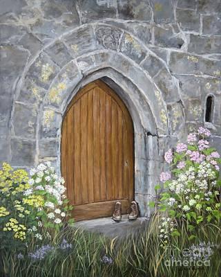 Ballinderry Castle Door Art Print by Janice Guinan