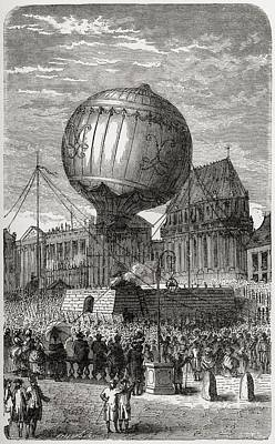 Balloon Ascent Outside The Palace Of Art Print by Vintage Design Pics