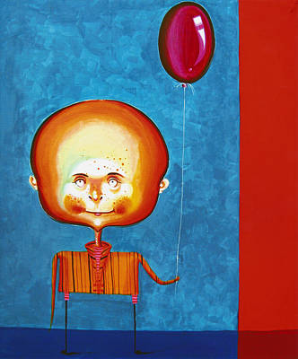 Malerei Painting - Balloon Boy - Acrylics On Canvas by Tiberiu Soos
