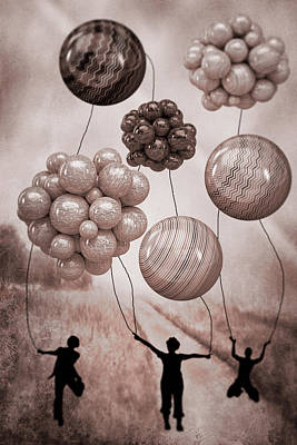 Digital Art - Balloon Contest - Sepia by Ericamaxine Price