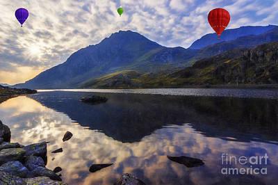 Park Scene Digital Art - Balloon Flight At Sunrise by Ian Mitchell