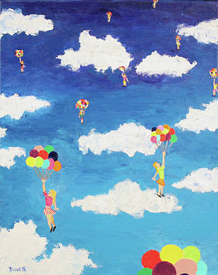 Floating Girl Painting - Balloon Girls by Thomas Blood