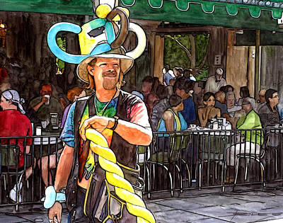 Pat O Briens Painting - Balloon Guy At Cafe Du Monde by John Boles