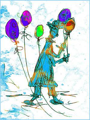 Merging Digital Art - Balloonman by Betty Pehme
