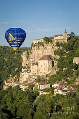 Balloon Over Rocamadour Art Print