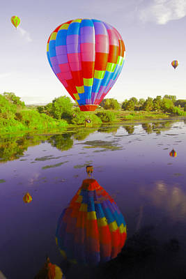 Balloon Reflecting In The Water Art Print by Jeff Swan
