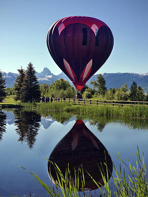 Teton Photograph - Balloon Reflection by Leland D Howard