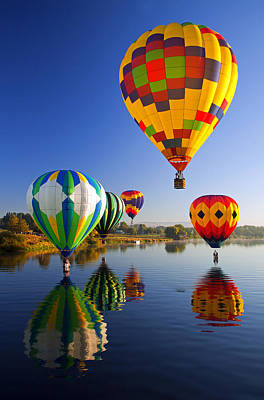 Hot Air Balloon Photograph - Balloon Reflections by Mike  Dawson