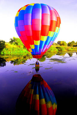 Balloon Touching The Water Art Print by Jeff Swan