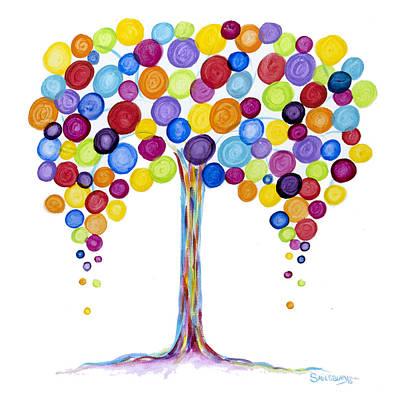 Tree Roots Painting - Balloon Tree by Heather Saulsbury