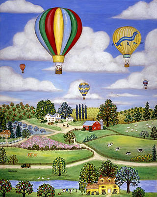 Barn Painting - Ballooning In The Country One by Linda Mears