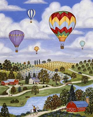 Ballooning In The Country Two Art Print by Linda Mears