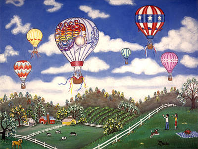 Patriotic Painting - Ballooning Over The Country by Linda Mears