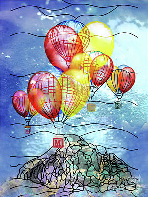 Emc2 Mixed Media - Balloons 2 by Tammera Malicki-Wong