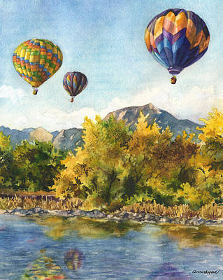 Hot Air Balloon Painting - Balloons At Twin Lakes by Anne Gifford