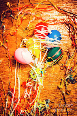 Balloons Entangled With Colorful Streamers Art Print