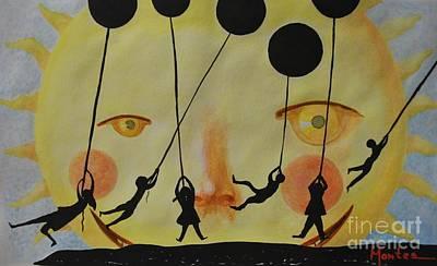 Black Kid Playing Painting - Balloons by Jose Luis Montes