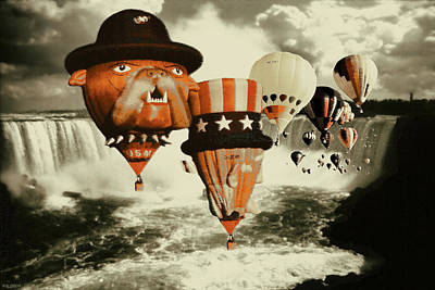 Photograph - Balloons Over Niagara - Fantasy Collage by Art America Gallery Peter Potter