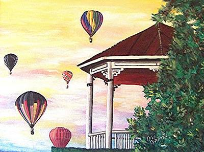 Natchez Painting - Balloons Over The Gazbo by Loraine Griffin