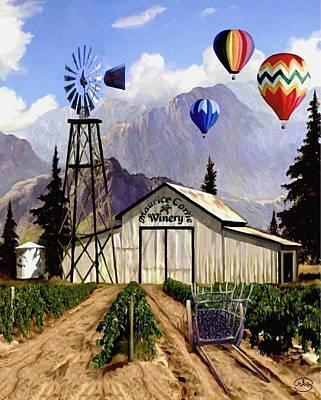 Shed Digital Art - Balloons Over The Winery 2 by Ron Chambers
