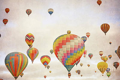 Photograph - Balloons Vintage Sky by Andrea Hazel Ihlefeld