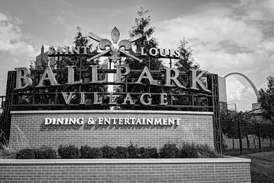 Photograph - Ballpark Village - Saint Louis Arch Bw by Gregory Ballos