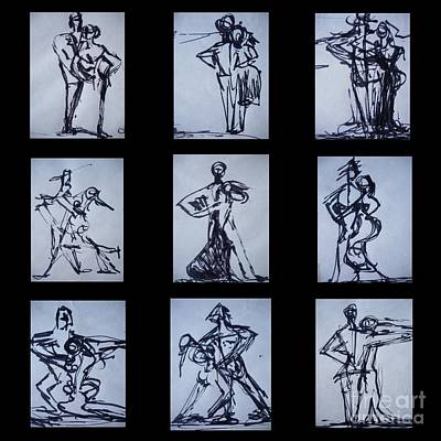Drawing - Ballroom Dancing by Diane montana Jansson