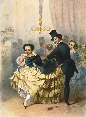 Ballroom Drawing - Ballroom Scene In The 19th Century by Vintage Design Pics