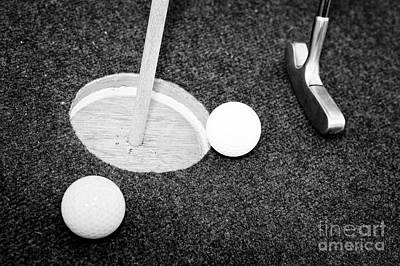 Balls And Golf Putter On Home Made Crazy Golf Hole Art Print