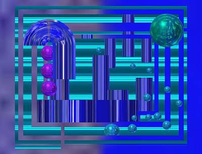 Abstract Digital Art - Balls In Blue Tech Light by Alberto RuiZ