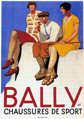 Mixed Media - Bally Chaussures De Sport - Vintage Shoes Advertising Poster by Studio Grafiikka