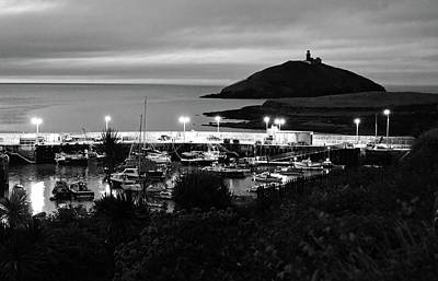 Photograph - Ballycotton Ireland Marina Harbour And Lighthouse East County Cork Black And White by Shawn O'Brien