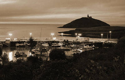 Photograph - Ballycotton Ireland Marina Harbour And Lighthouse East County Cork Sepia by Shawn O'Brien